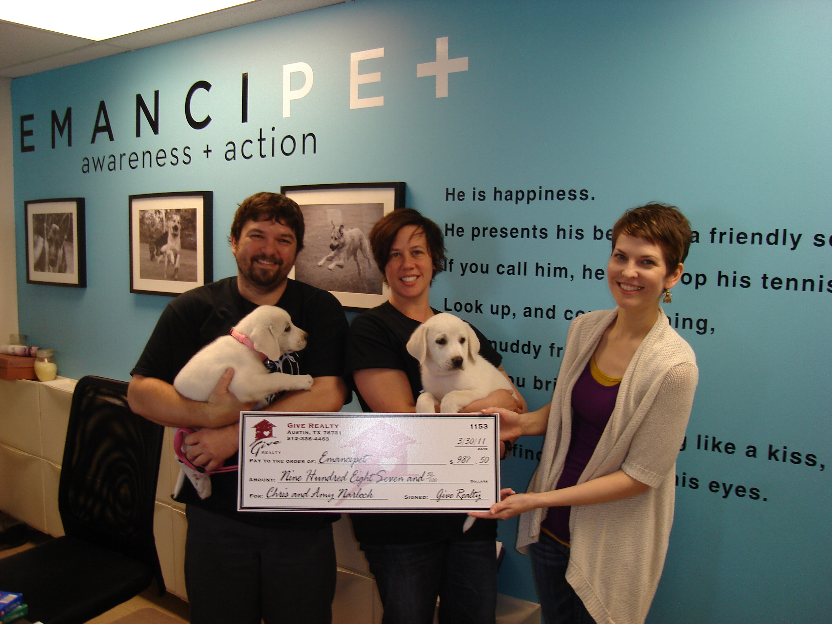 $1,000.00 donated to REDArena and $987.50 donated to Emancipet on behalf of Chris and Amy Narlock