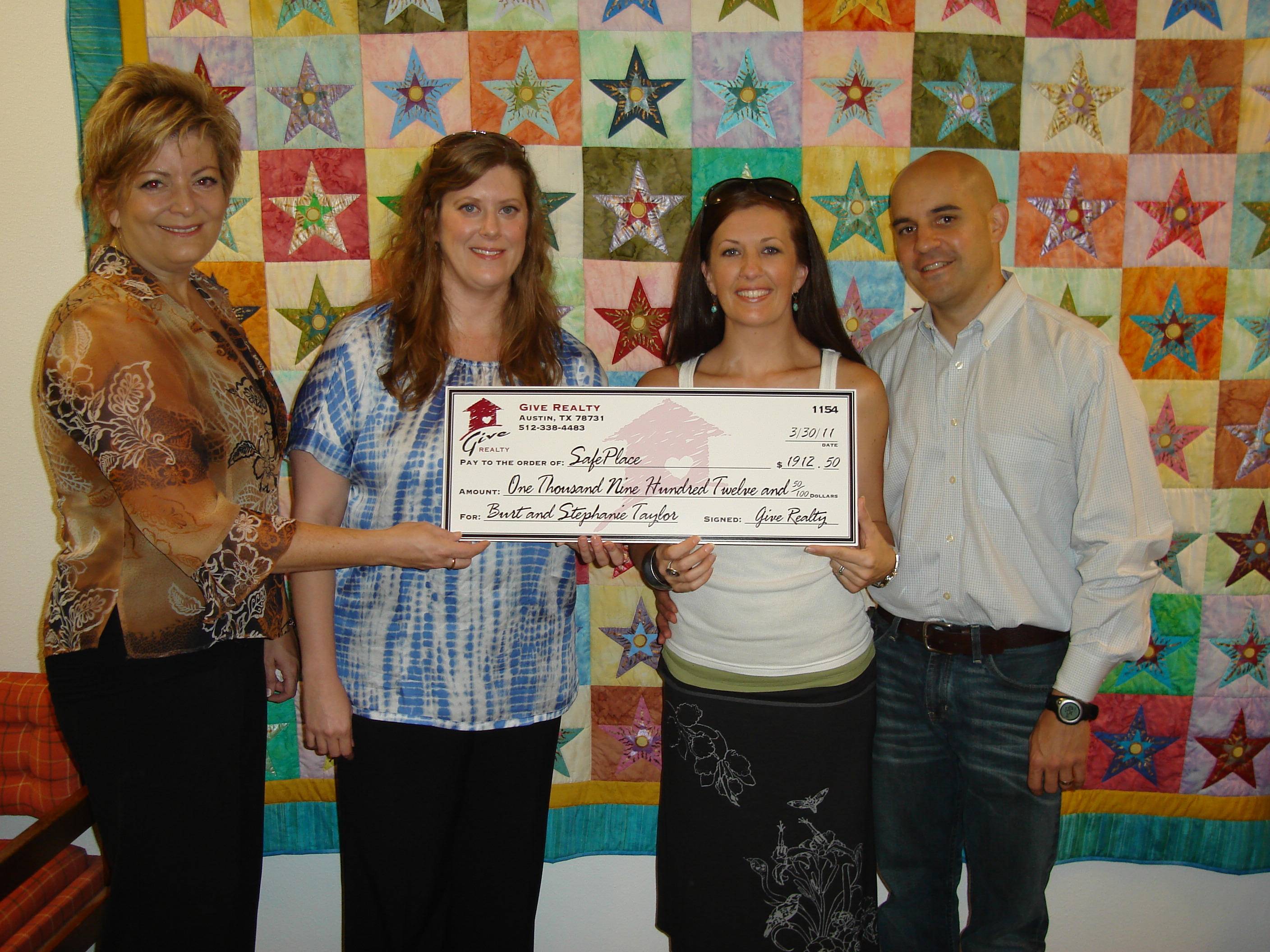 $1,912.50 donated to SafePlace on behalf of the Taylor Family