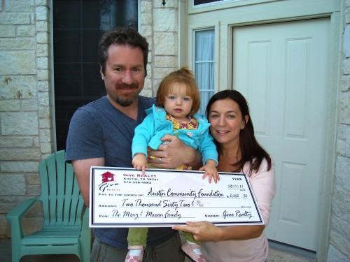 $2,062.50 donated to Austin Community Foundation on behalf of the Mraz / Maxon Family
