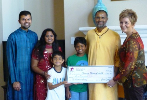 $4,000.00 Donated to Chinmaya Mission Austin and $910.10 donated to Williamson County Child Advocacy Center on behalf of the Vadodaria Family
