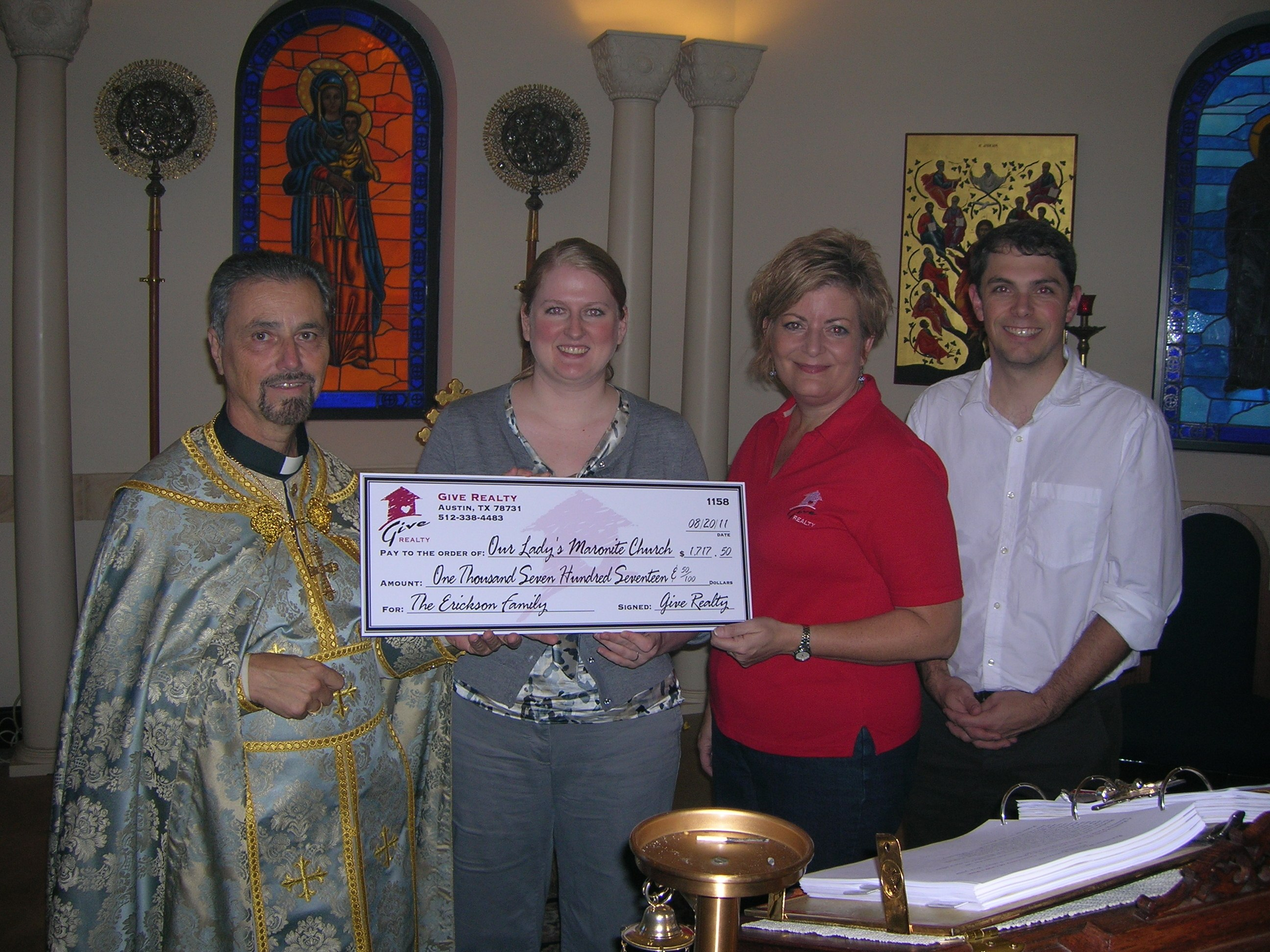 $1,717.50 Donated to Our Lady's Maronite Catholic Church on behalf of the Erickson Family