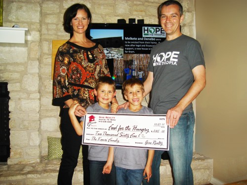 $2,065.00 Donated to Food for the Hungry/Orphan Care Ethiopia and $1000.00 on behalf of the Kouri Family