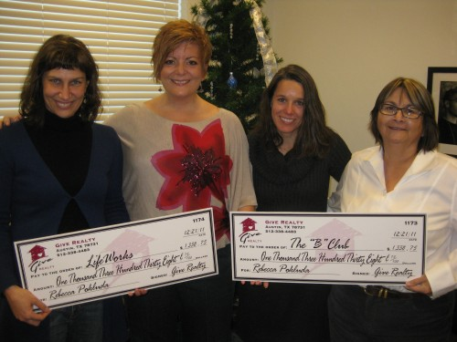 "$1338.75 Donated to LifeWorks and $1338.75 Donated to The ""B"" Club on behalf of Rebecca Pokluda"